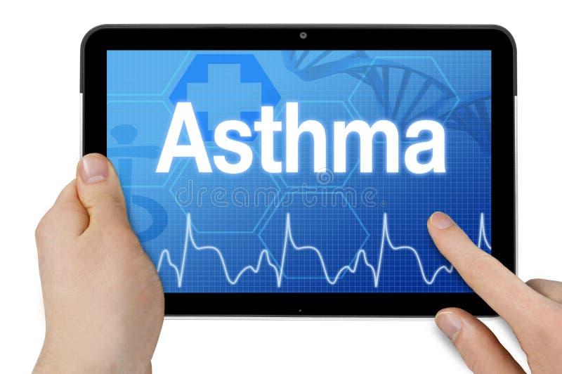 Computer della compressa con asma di diagnosi e del fondo medico fotografia stock