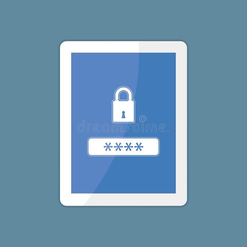 Computer della compressa con la pagina modulo di connessione dell'utente illustrazione di stock