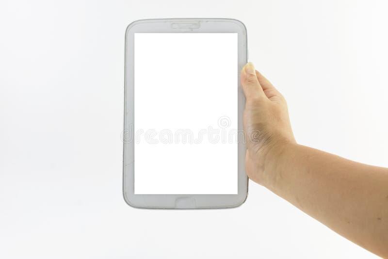 Computer della compressa della tenuta della mano sull'isolato su Spazio in bianco con il concetto fotografie stock libere da diritti