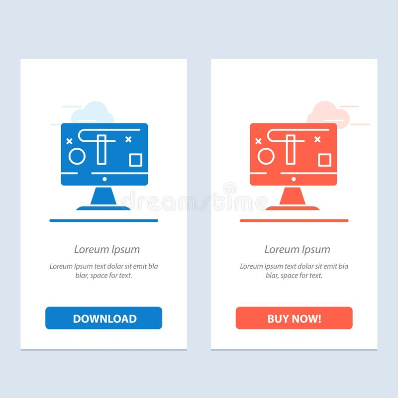Computer, Design, Display, Graphics  Blue and Red Download and Buy Now web Widget Card Template royalty free illustration