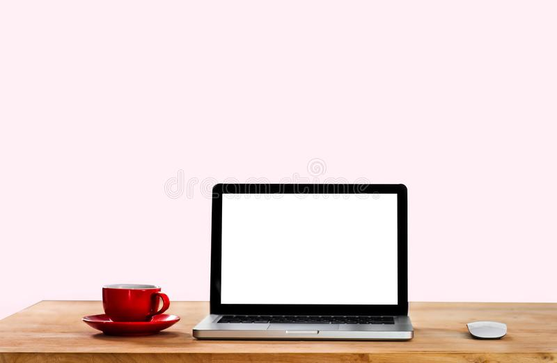 Computer desk area, white screen, working. royalty free stock photo