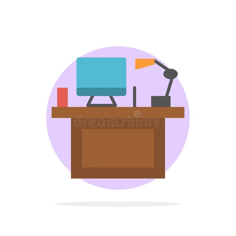 Computer, Desk, Desktop, Monitor, Office, Place, Table Abstract Circle Background Flat color Icon royalty free illustration