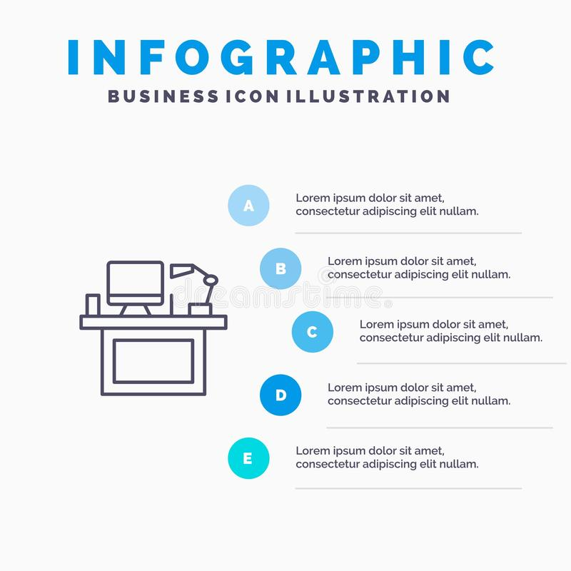 Computer, Desk, Desktop, Monitor, Office, Place, Table Line icon with 5 steps presentation infographics Background royalty free illustration