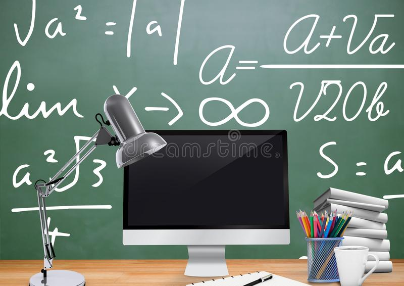 Computer Desk foreground with blackboard graphics of formulas. Digital composite of Computer Desk foreground with blackboard graphics of formulas royalty free illustration