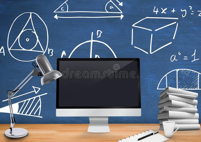 Computer Desk foreground with blackboard graphics of mathematical diagrams. Digital composite of Computer Desk foreground with blackboard graphics of stock illustration