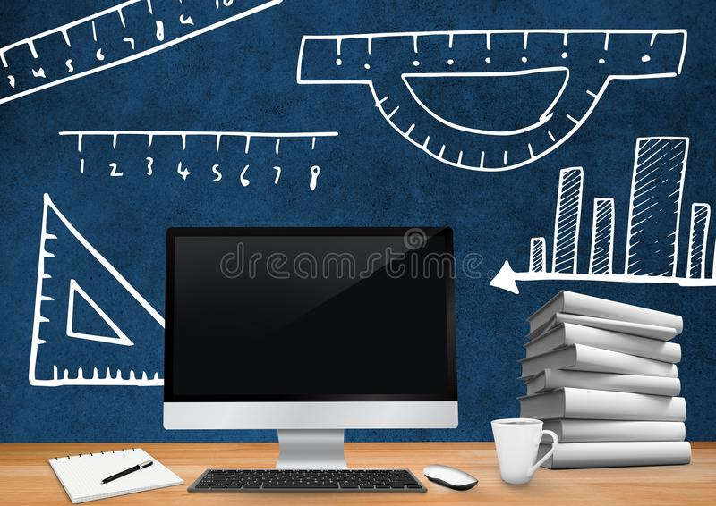 Computer Desk foreground with blackboard graphics of measurements and rulers. Digital composite of Computer Desk foreground with blackboard graphics of vector illustration