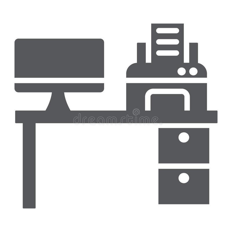 Computer desk glyph icon, office and table, workplace sign, vector graphics, a solid pattern on a white background. stock illustration