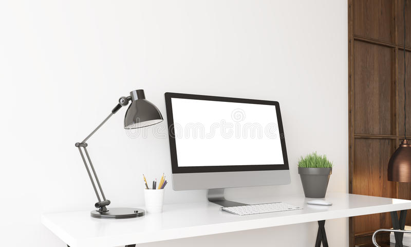 Computer on desk in home office royalty free illustration