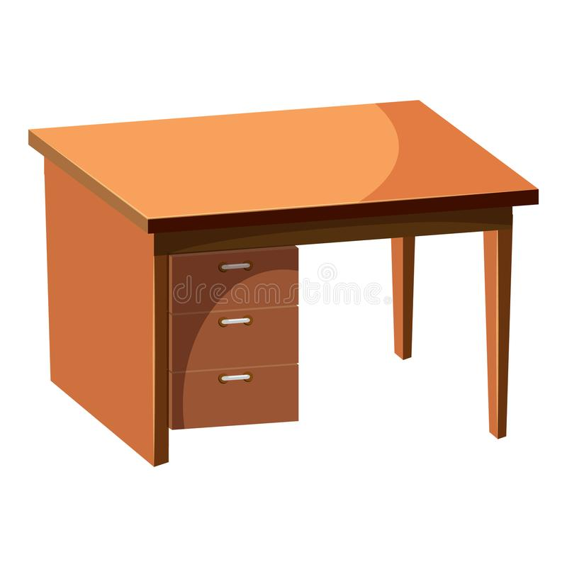 Computer desk icon, cartoon style vector illustration