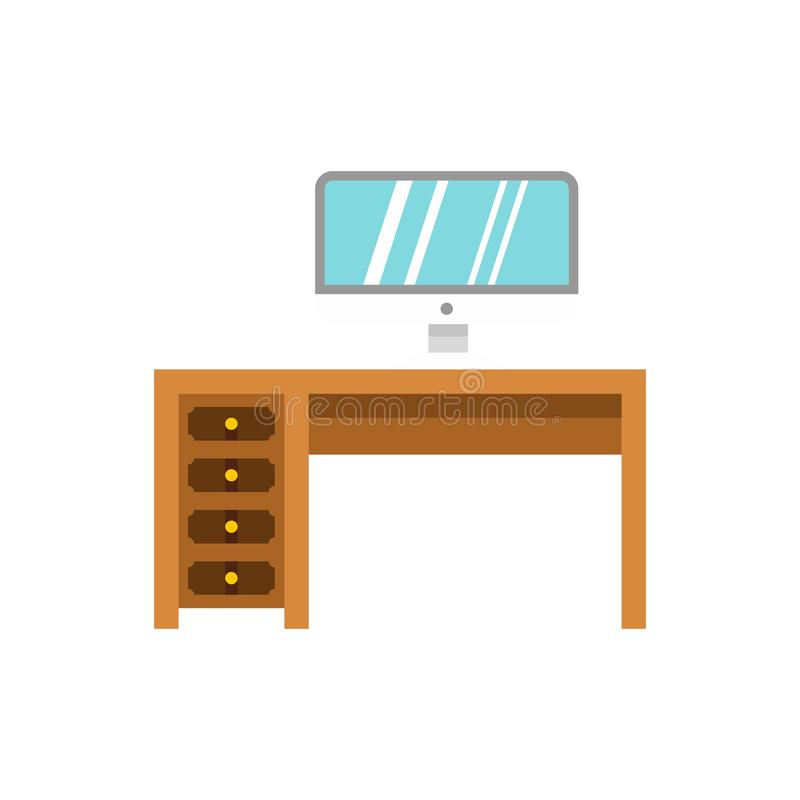 Computer desk icon, flat style royalty free illustration