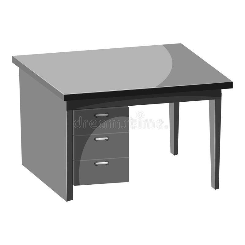 Computer desk icon, gray monochrome style royalty free illustration
