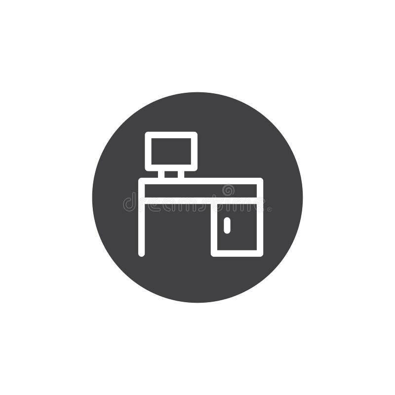 Computer desk icon vector royalty free illustration