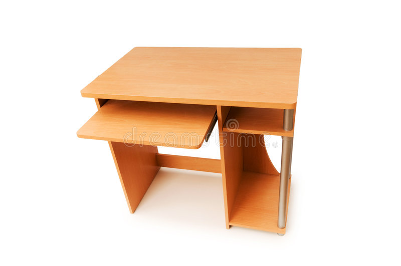 Download Computer desk isolated stock photo. Image of table, wood - 6099114