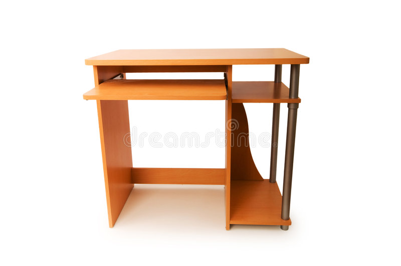 Computer desk isolated royalty free stock photos