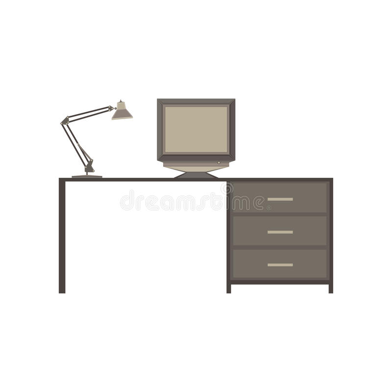 Computer desk with lamp monochrome flat in gray color theme stock illustration