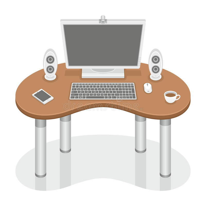 Computer desk. Computer on the office desk, working items vector illustration