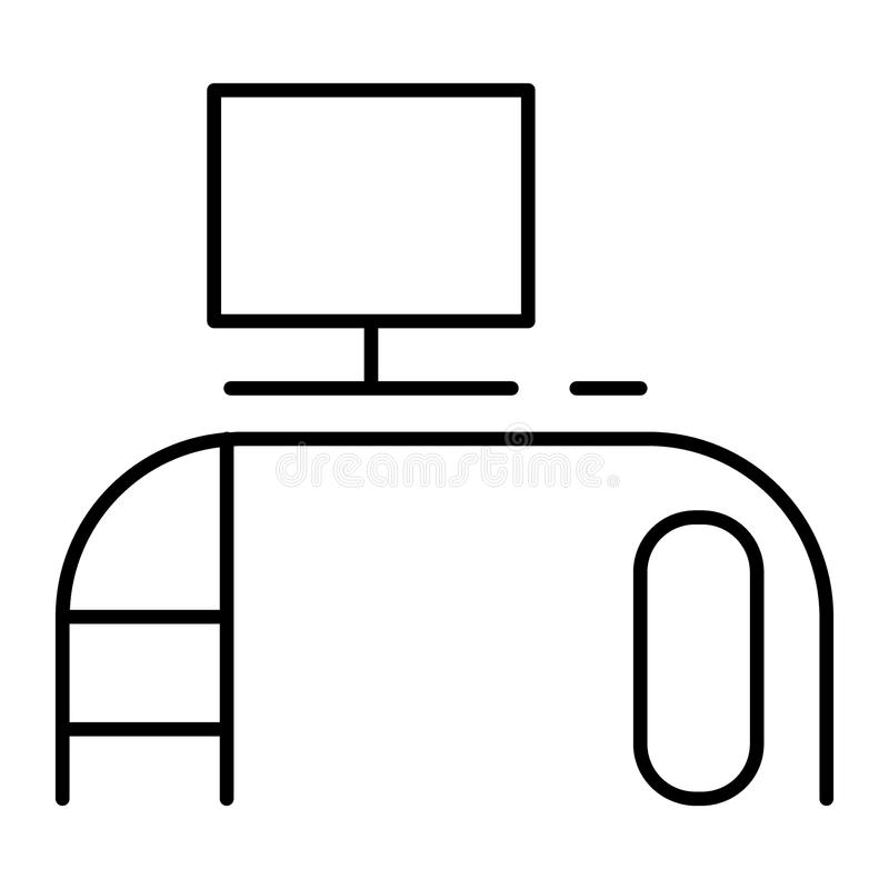 Computer desk thin line icon. Office desk vector illustration isolated on white. Workplace outline style design royalty free illustration