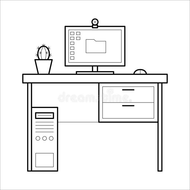 Computer desk - thin line style. stock illustration
