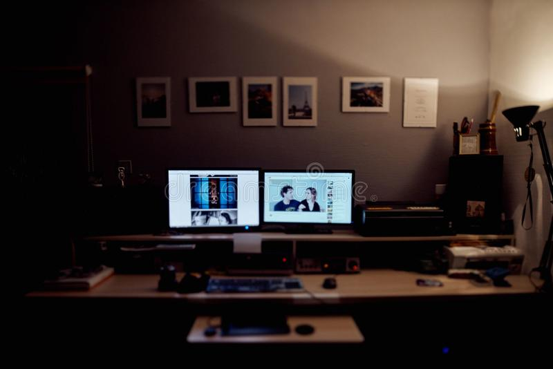 Computer Desk With Two Monitors Free Public Domain Cc Image