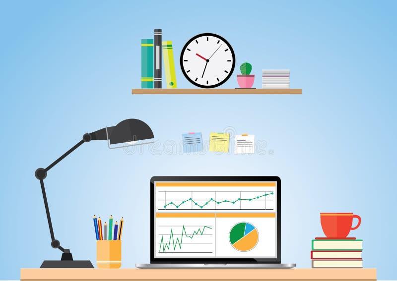 Computer desk, workplace cartoon, business concept, vector stock illustration