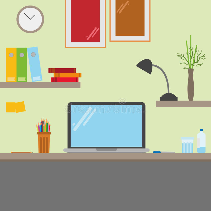 Computer desk. Workplace in flat cartoon style. stock illustration