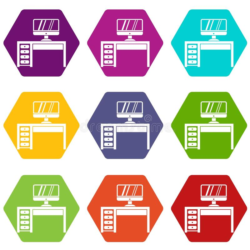 Computer desk, workplace icon set color hexahedron stock illustration