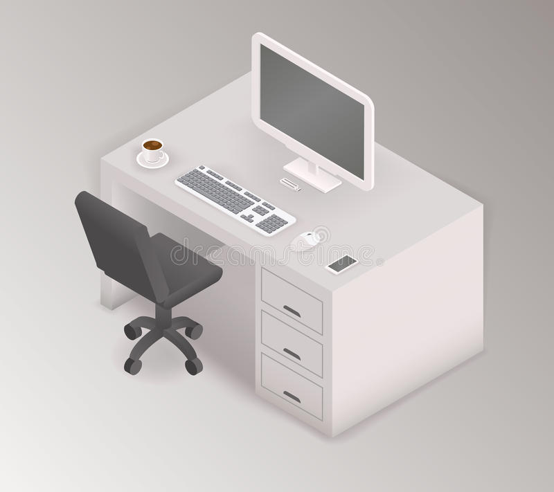 Computer desk workplace isometric 3d illustration royalty free illustration