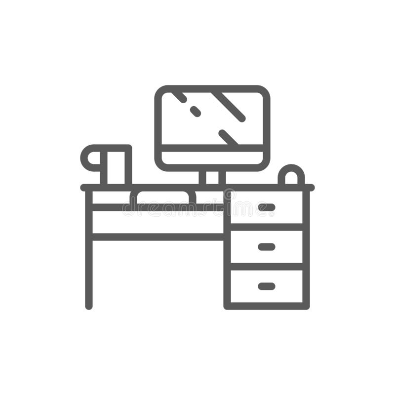 Computer desk, workplace line icon. vector illustration