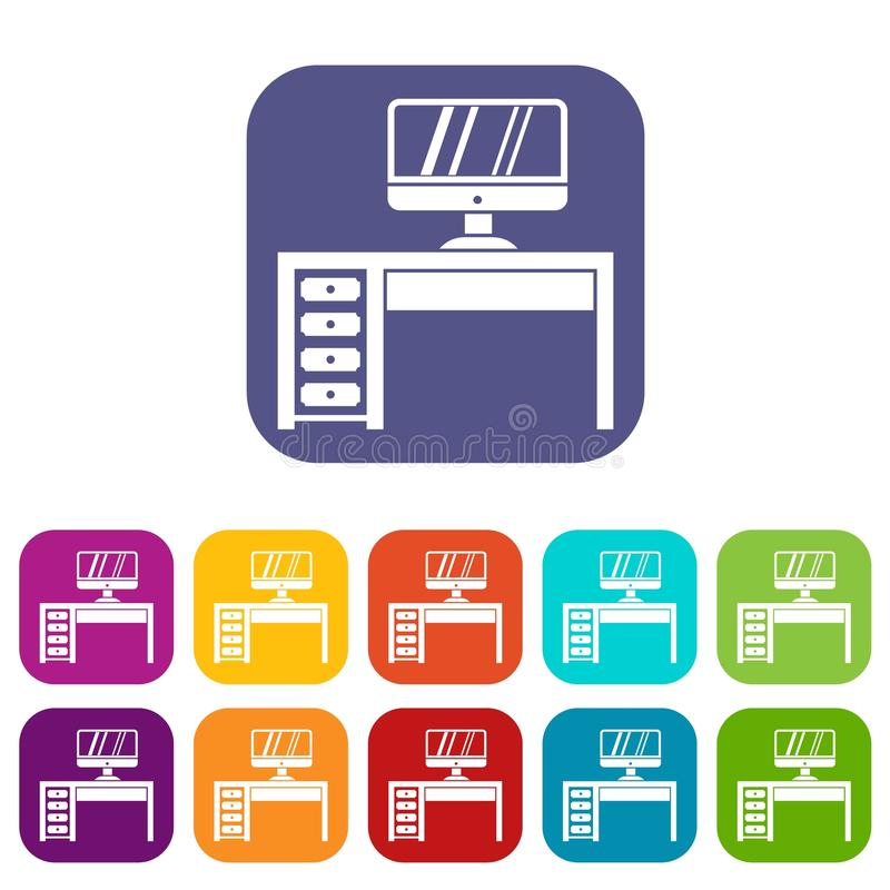 Computer desk, workplace icons set stock illustration