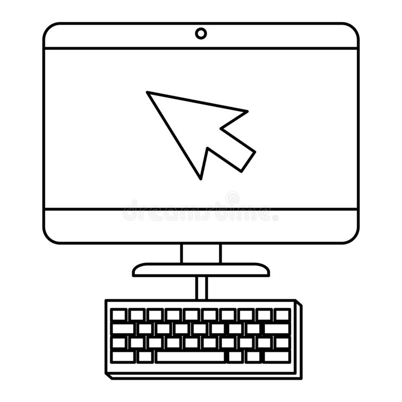 Computer desktop with arrow mouse and keyboard stock illustration
