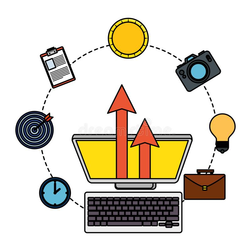 Computer desktop with business icons. Vector illustration design stock illustration