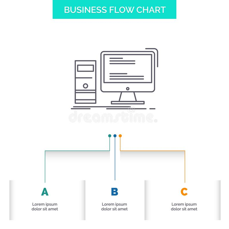 Computer, desktop, gaming, pc, personal Business Flow Chart Design with 3 Steps. Line Icon For Presentation Background Template royalty free illustration