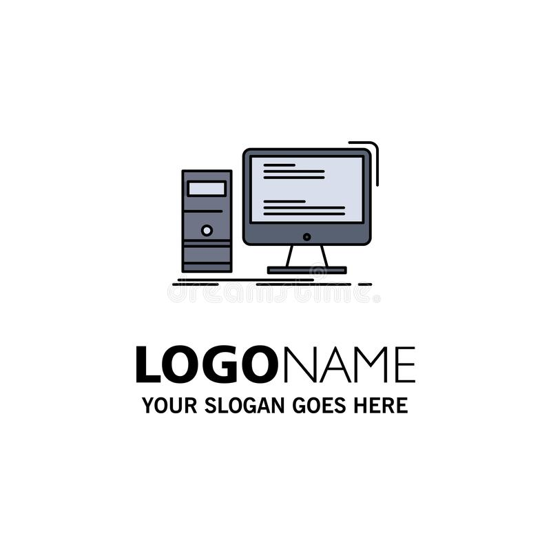 Computer, desktop, gaming, pc, personal Flat Color Icon Vector royalty free illustration