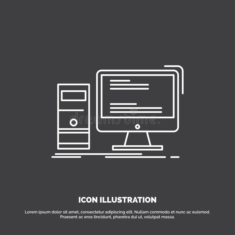 Computer, desktop, gaming, pc, personal Icon. Line vector symbol for UI and UX, website or mobile application royalty free illustration