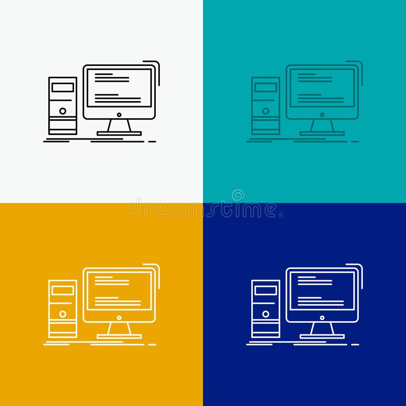 Computer, desktop, gaming, pc, personal Icon Over Various Background. Line style design, designed for web and app. Eps 10 vector. Illustration. Vector EPS10 stock illustration