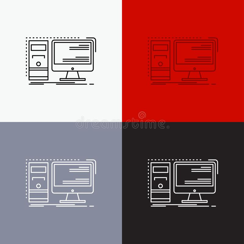 Computer, desktop, hardware, workstation, System Icon Over Various Background. Line style design, designed for web and app. Eps 10. Vector illustration. Vector vector illustration