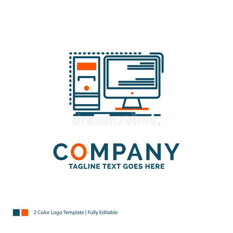 Computer, desktop, hardware, workstation, System Logo Design. Bl. Ue and Orange Brand Name Design. Place for Tagline. Business Logo template vector illustration