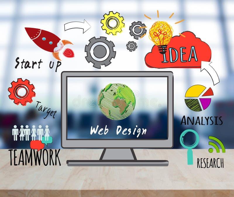 Computer On Desktop With Web Design Website Homepage Stock Photo ...