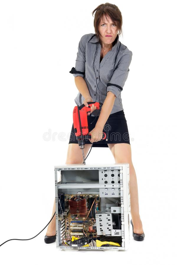 Download Computer destruction stock photo. Image of electric, businesswoman - 26574270