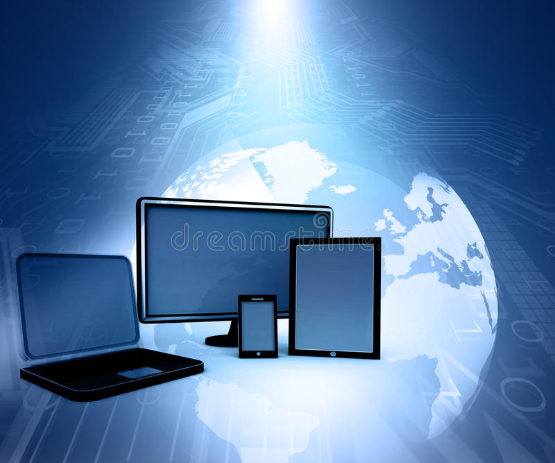 Computer Devices. On abstract blue tech background stock illustration