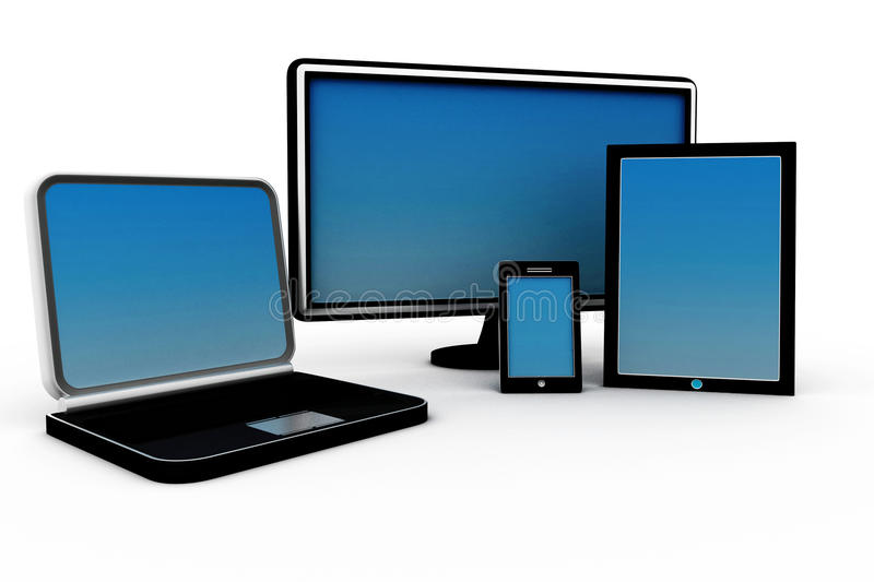 Computer Devices. 3d illustration of Computer Devices stock illustration