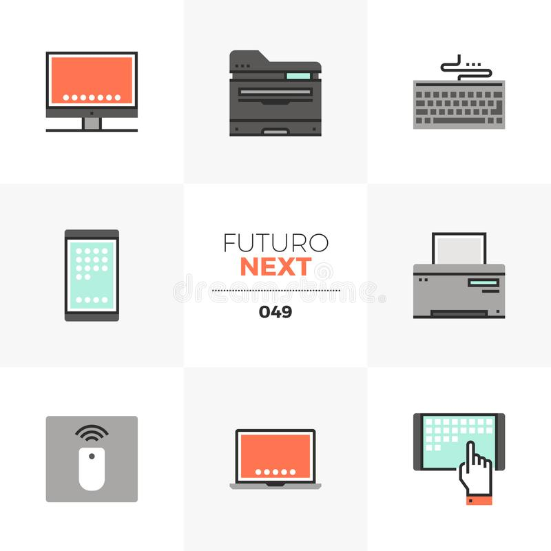 Computer Devices Futuro Next Icons vector illustration