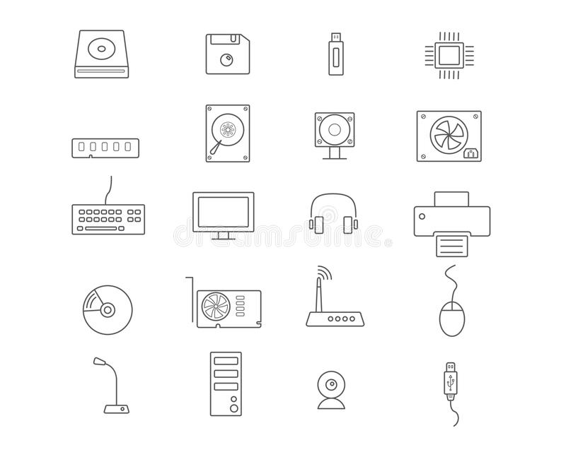Computer devices Icon Set vector illustration