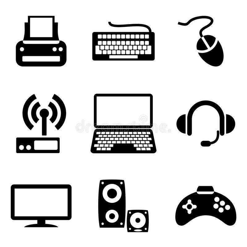 Computer devices icons stock illustration