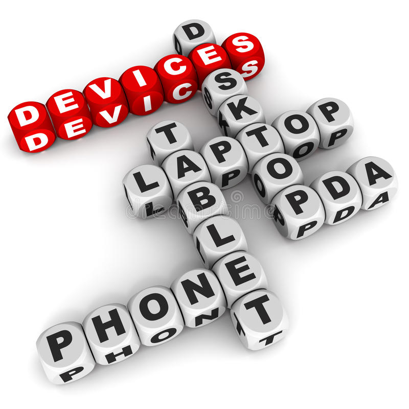 Computer devices. Internet computer or software technology devices with open architecture, like desktop laptop tablet and smart phones royalty free illustration
