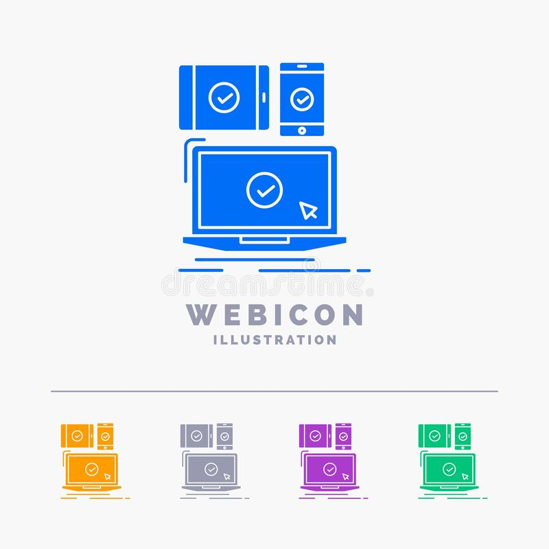 Computer, devices, mobile, responsive, technology 5 Color Glyph Web Icon Template isolated on white. Vector illustration. Vector EPS10 Abstract Template vector illustration
