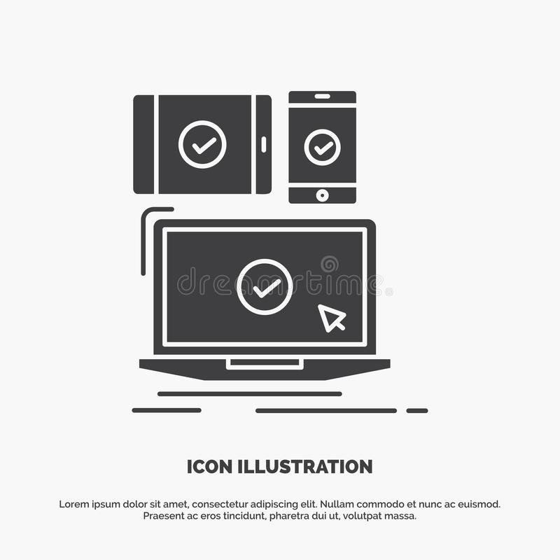 Computer, devices, mobile, responsive, technology Icon. glyph vector gray symbol for UI and UX, website or mobile application. Vector EPS10 Abstract Template vector illustration