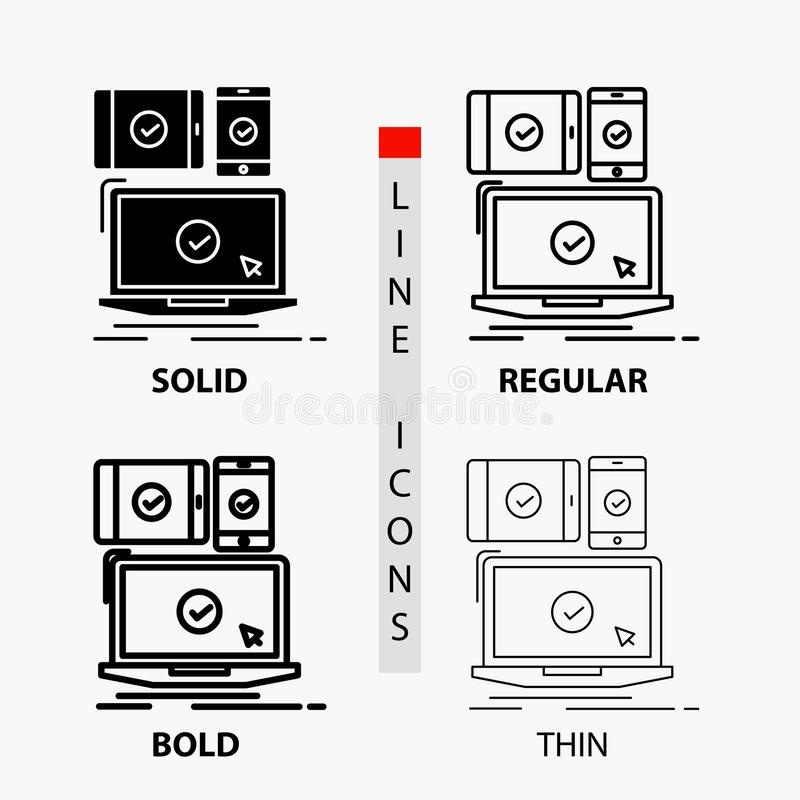 computer, devices, mobile, responsive, technology Icon in Thin, Regular, Bold Line and Glyph Style. Vector illustration stock illustration