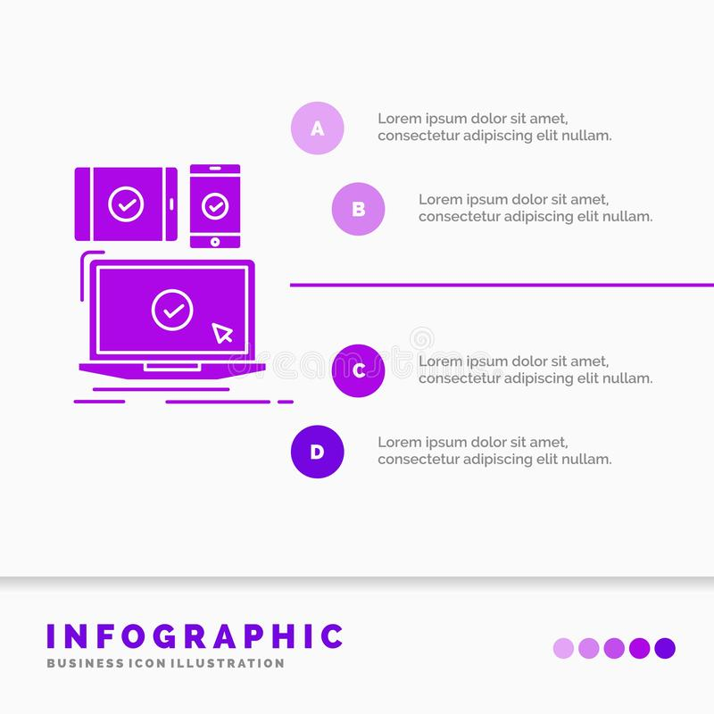computer, devices, mobile, responsive, technology Infographics Template for Website and Presentation. GLyph Purple icon royalty free illustration