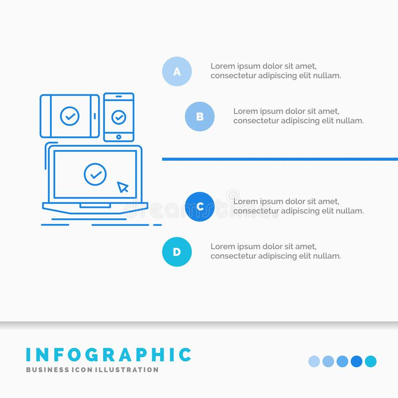 Computer, devices, mobile, responsive, technology Infographics Template for Website and Presentation. Line Blue icon infographic. Style vector illustration royalty free illustration